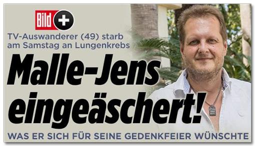 Screenshot Bild.de - TV-Auswanderer starb am Samstag an Lungenkrebs - Malle-Jens eingeäschert! Was er sich für seine Gedenkfeier wünschte