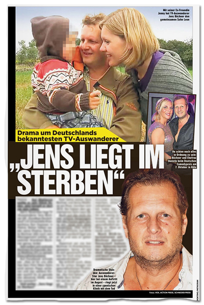 Ausriss Bild-Zeitung - Drama um Deutschlands bekanntesten TV-Auswanderer - JENS LIEGT IM STERBEN