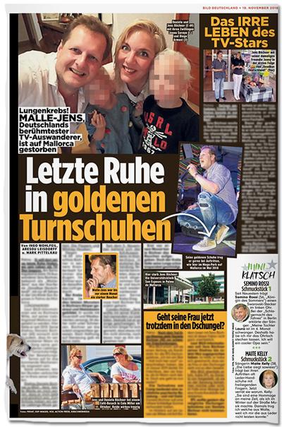 Ausriss Bild-Zeitung - Letzte Ruhe in goldenen Turnschuhen