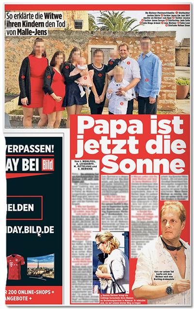 Ausriss Bild-Zeitung - So erklärte die Witwe ihren Kindern den Tod von Malle Jens - Papa ist jetzt die Sonne