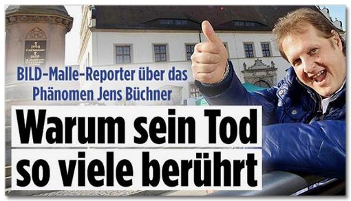 Screenshot Bild.de - Bild-Malle-Reporter über das Phänomen Jens Büchner - Warum sein Tod so viele berührt