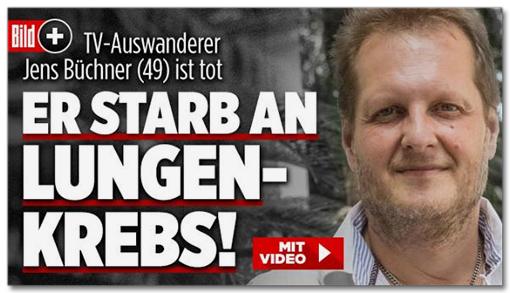 Screenshot Bild.de - TV-Auswanderer Jens Büchner (49) ist tot - Er starb an Lungenkrebs!