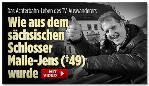 Screenshot Bild.de - Das Achterbahn-Leben des TV-Auswanderers - Wie aus dem sächsischen Schlosser Malle-Jens wurde