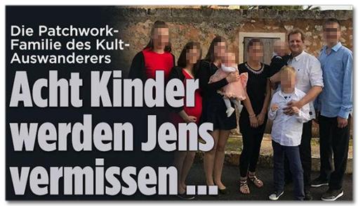Screenshot Bild.de - Die Patchwork-Familie des Kult-Auswanderers - Acht Kinder werden Jens vermissen