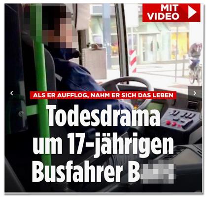Screenshot Bild.de - Als er aufflog, nahm er sich das Leben - Todesdrama um 17-jährigen Busfahrer B.