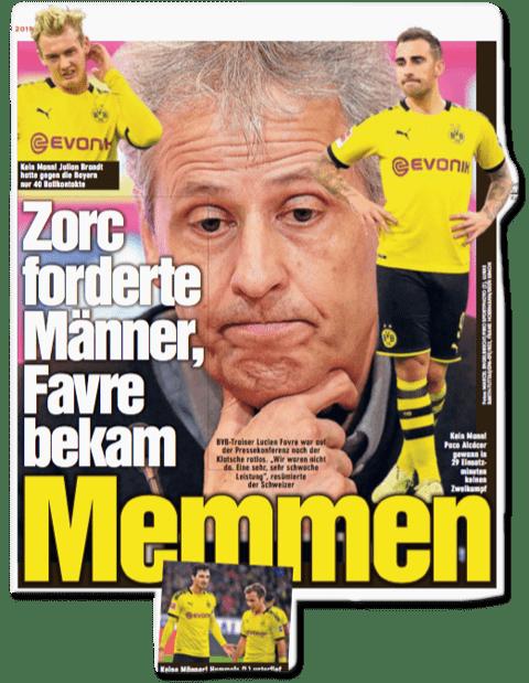 Ausriss Bild-Zeitung - Zorc forderte Männer, Favre bekam Memmen