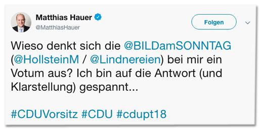 Screenshot eines Tweets des CDU-Bundestagsabgeordneten Matthias Hauer - Wieso denkt sich die Bild am Sonntag bei mir ein Votum aus? Ich bin auf die Antwort (und Klarstellung) gespannt
