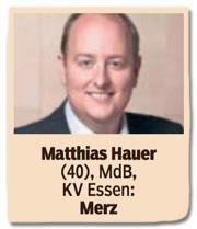 Ausriss Bild am Sonntag - Matthias Hauer, 40 Jahre alt, Mitglied des Bundestags, Kreisverband Essen, Friedrich Merz