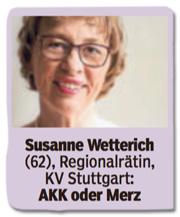 Ausriss Bild am Sonntag - Susanne Wetterich, 62, Regionalräting, Kreisverband Stuttgart, Kramp-Karrenbauer oder Merz