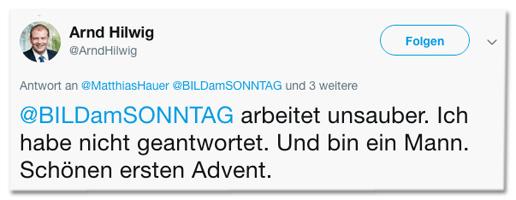 Screenshot eines Tweets von Arnd Hilwig - Bild am Sonntag arbeitet unsauber. Ich habe nicht geantwortet. Und bin ein Mann. Schönen ersten Advent.