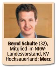 Ausriss Bild am Sonntag - Bernd Schlte, 32, Mitglied im NRW-Landesvorstand, Friedrich Merz