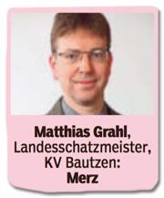 Ausriss Bild am Sonntag - Matthias Grahl, Landesschatzmeister, Kreisverband Bautzen, Friedrich Merz