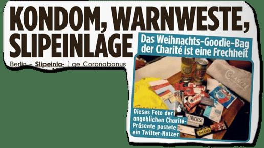 Ausriss Bild-Zeitung - Kondom, Warnweste, Slipeinalge - Das Weihnachts-Goodie-Bag der Charite ist eine Frechheit