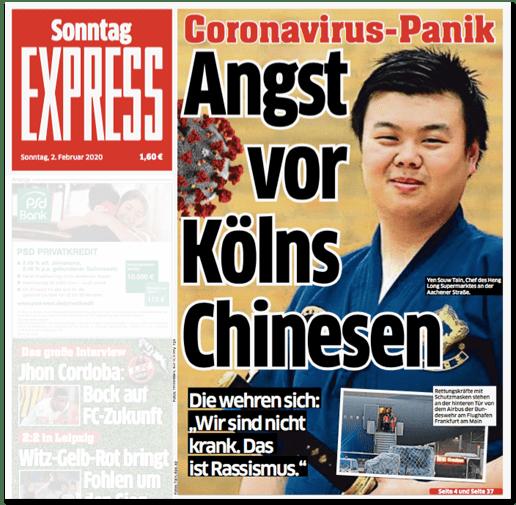 Ausriss Titelseite Kölner Express - Coronavirus-Panik - Angst vor Kölns Chinesen - Die wehren sich: Wir sind nicht krank. Das ist Rassismus.