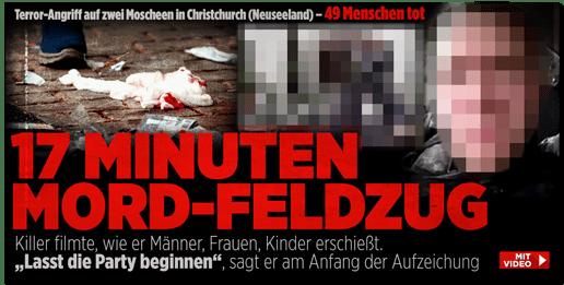 Screenshot Bild.de - Terror-Angriff auf zwei Moscheen in Christchruch (Neuseeland) - 49 Menschen tot - 17 Minuten Mord-Feldzug - Killer filmte, wie er Männer, Frauen, Kinder erschießt. Lasst die Party beginnen, sagt er am Anfang der Aufzeichnung - Mit Video