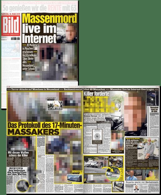Ausriss Bild-Zeitung - Massenmord live im Internet - Das Protokoll des 17-Minuten-Massakers