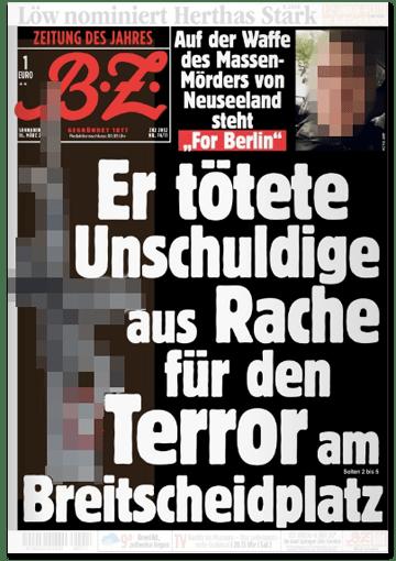 Ausriss BZ-Titelseite - Auf der Waffe des Massenmörders steht for Berlin - Er tötete Unschuldige aus Rache für den Terror am Breitscheidplatz