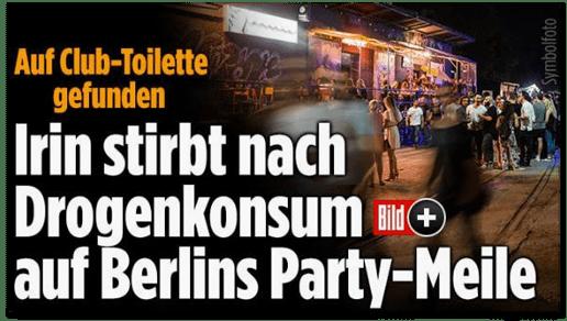 Screenshot Bild.de - Auf Club-Toilette gefunden - Irin stirbt nach Drogenkonsum auf Berlins Party-Meile