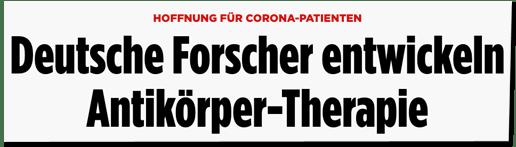 Screenshot Bild.de - Hoffnung für Corona-Patienten - Deutsche Forscher entwickeln Antikörper-Therapie