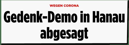 Screenshot Bild.de - Wegen Corona - Gedenk-Demo in Hanau abgesagt