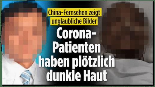 Screenshot Bild.de - China-Fernsehen zeigt unglaubliche Bilder - Corona-Patienten haben plötzlich dunkle Haut