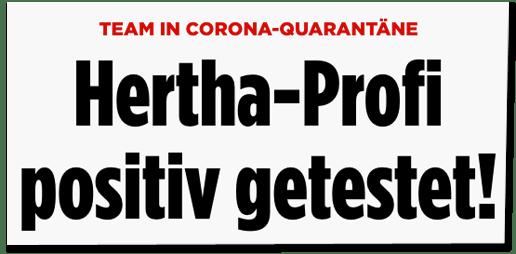 Screenshot Bild.de - Team in Corona-Quarantäne - Hertha-Profi positiv getestet!