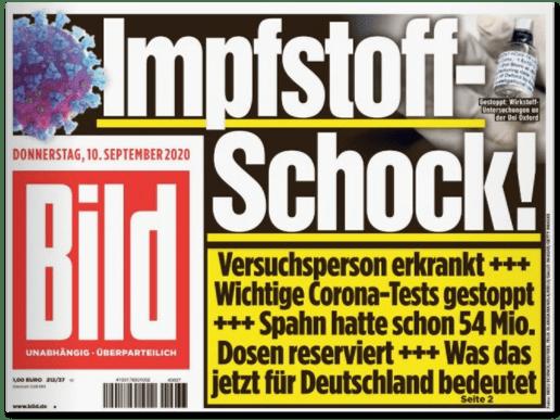 Ausriss Bild-Titelseite - Impfstoff-Schock! Versuchsperson erkrankt - Wichtige Corona-Tests gestoppt - Spahn hatte schon 54 Millionen Dosen reserviert - Was das für Deutschland jetzt bedeutet