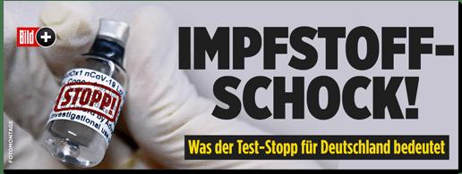 Screenshot Bild.de - Impfstoff-Schock! Was der Test-Stopp für Deutschland bedeutet