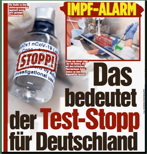 Ausriss Bild-Zeitung - Impf-Alarm - Das bedeutet der Test-Stopp für Deutschland