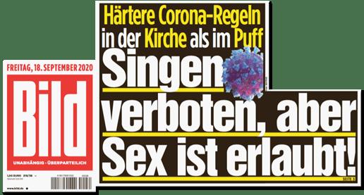 Ausriss Bild-Titelseite - Härtere Corona-Regeln in der Kirche als im Puff - Singen verboten, aber Sex ist erlaubt!
