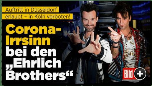 Screenshot Bild.de - Auftritt in Düsseldorf erlaubt - in Köln verboten! Corona-Irrsinn bei den Ehrlich Brothers
