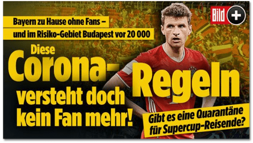 Screenshot Bild.de - Diese Corona-Regeln versteht doch kein Fan mehr!
