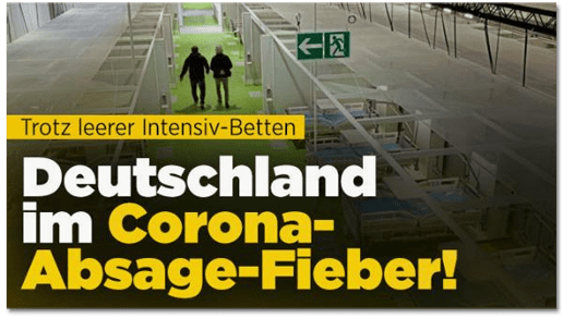Screenshot Bild.de - Trotz leerer Intensiv-Betten - Deutschland im Corona-Absage-Fieber!