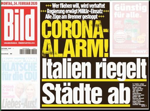 Ausriss Bild-Titelseite - Wer fliehen will, wird verhaftet - Regierung erwägt Militär-Einsatz - Alle Züge am Brenner gestoppt - Corona-Alarm! Italien riegelt Städte ab