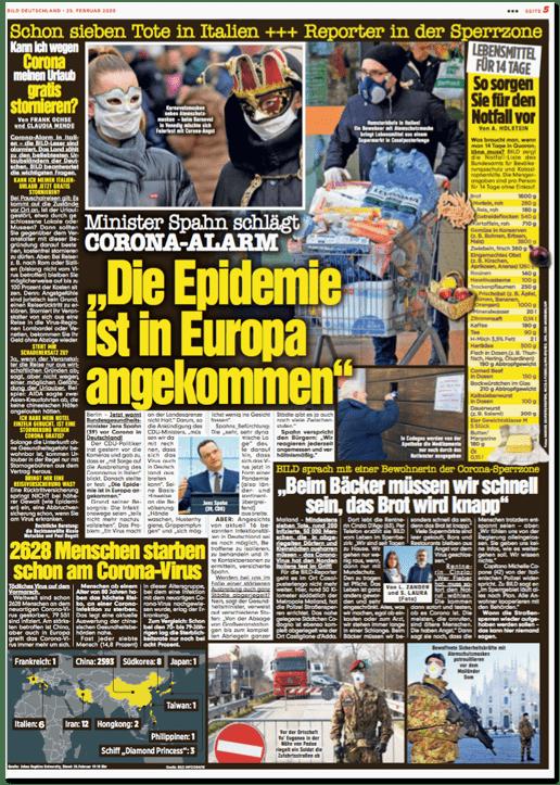 Ausriss Bild-Zeitung - Schon sieben Tote in Italien - Reporter in der Sperrzone - Die Epidemie ist in Europa angekommen