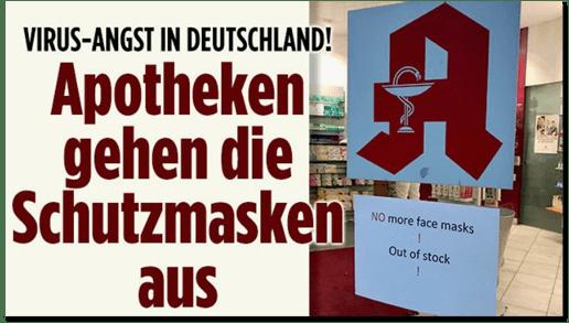 Screenshot Bild.de - Virus-Angst in Deutschland! Apotheken gehen die Schutzmasken aus