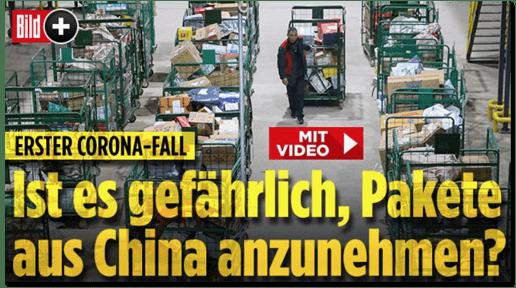 Screenshot Bild.de - Erster Corona-Fall - Ist es gefährlich, Pakete aus China anzunehmen?