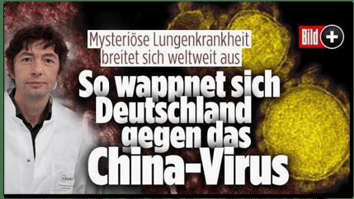 Screenshot Bild.de - Mysteriöse Lungenkrankheit breitet sich weltweit aus - So wappnet sich Deutschland gegen das China-Virus