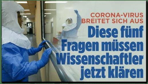 Screenshot Bild.de - Corona-Virus breitet sich weiter aus - Diese fünf Fragen müssen Wissenschaftler jetzt klären