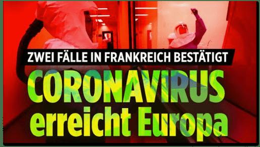 Screenshot Bild.de - Zwei Fälle in Frankreich bestätigt - Coronavirus erreicht Europa