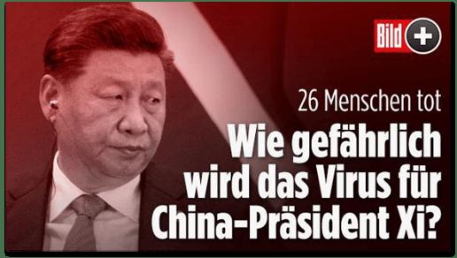 Screenshot Bild.de - 26 Menschen tot - Wie gefährlich wird das Virus für China-Präsident Xi?