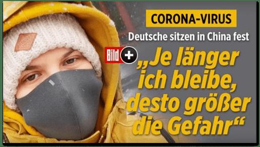 Screenshot Bild.de - Corona-Virus - Deutsche sitzen in China fest - Je länger ich bleibe, desto größer die Gefahr