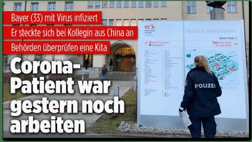 Screenshot Bild.de - Bayer (33) mit Virus infiziert - Er steckte sich bei Kollegin aus China an - Behörden überprüfen eine Kita - Corona-Patient war gestern noch arbeiten