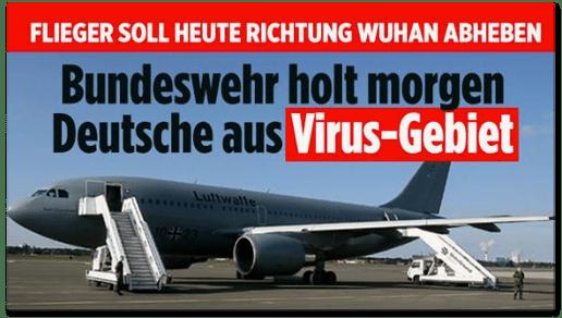 Screenshot Bild.de - Flieger soll heute Richtung Wuhan abheben - Bundeswehr holt morgen Deutsche aus Virus-Gebiet