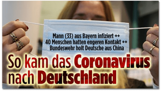 Screenshot Bild.de - Mann (33) aus Bayern infiziert - 40 Menschen hatten engeren Kontakt - Bundeswehr holt Deutsche aus China - So kam das Coronavirus nach Deutschland