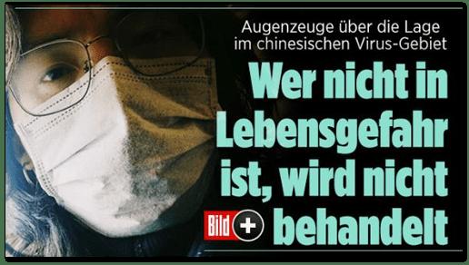 Screenshot Bild.de - Augenzeuge über die Lage im chinesischen Virus-Gebiet - Wer nicht in Lebensgefahr ist, wird nicht behandelt