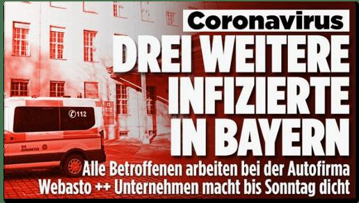 Screenshot Bild.de - Coronavirus - Drei weitere Infizierte in Bayern - Alle Betroffenen arbeiten bei der Autofirma Webasto - Unternehmen macht bis Sonntag dicht