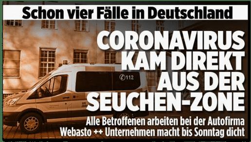 Screenshot Bild.de - Schon vier Fälle in Deutschland - Coronavirus kam direkt aus der Seuchen-Zone - Alle Betroffenen arbeiten bei Autofirma Webasto - Unternehmen macht bis Sonntag dicht