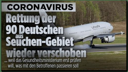 Screenshot Bild.de - Coronavirus - Rettung der 90 Deutschen aus Seuchen-Gebiet wieder verschoben - weil das Gesundheitsministerium erst prüfen will, was mit den Betroffenen passieren soll