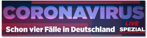 Screenshot Bild.de - Coronavirus - Schon vier Fälle in Deutschland - live Spezial